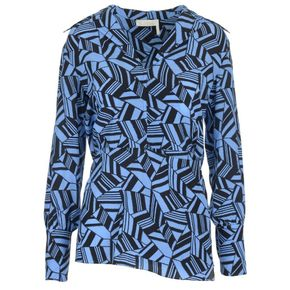 CHLOE` Shirts FW18 Blouse in blue and black geometric print