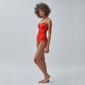 RIBBED RUFFLE SWIM_RED