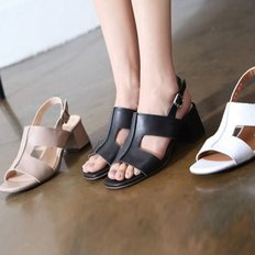 kami et muse Top stitch middle heel leather sandals_KM18s367