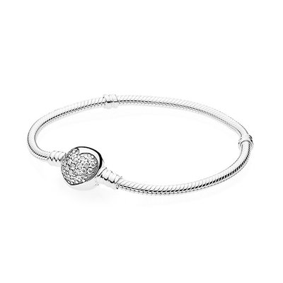 판도라 590743CZ Moments Sparkling Heart Clasp PANDORA SILVER BANGLE