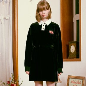 (OP-20712) VELVET COLLAR ONE-PIECE BLACK