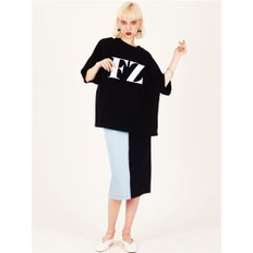 FZ BLACK WHITE LOGO OVERFITTED T-SHIRTS