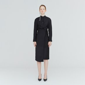 [가브리엘리] 19FW TUCK-DETAIL LONG WRAP DRESS - BLACK