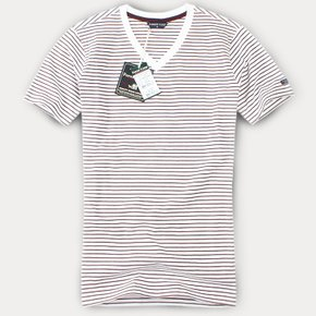 [FOREST CAMP]V-Neck/스트라이프 브이넥 반팔티[FCTH4243-White/Burgundy]
