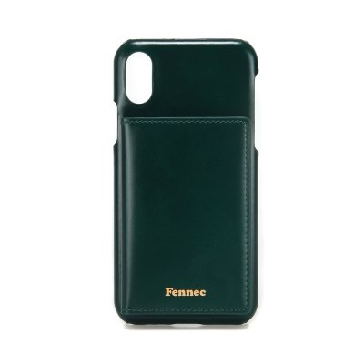 [A LAND]FENNEC LEATHER iPHONE XS POCKET CASE - MOSS GREEN
