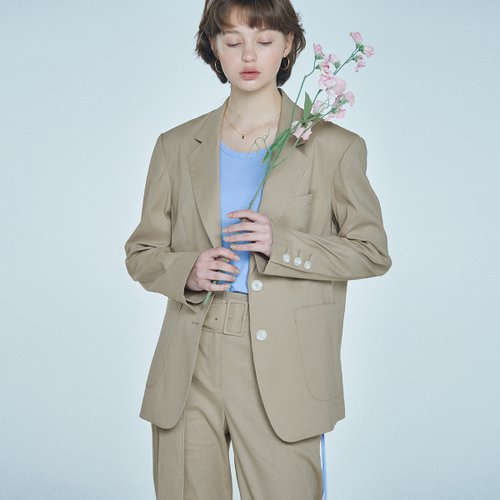 [40%할인적용가]linen notched collar blazer Beige