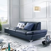 Ellia-Navy Leather-Look Sofa w/ Stool 가죽소파