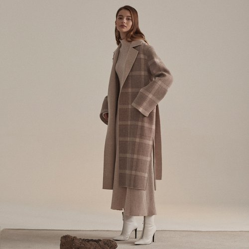 ★SSG특별혜택가★[뮤제]Reine Cashmere Blend Reversible Coat_Ivory Check