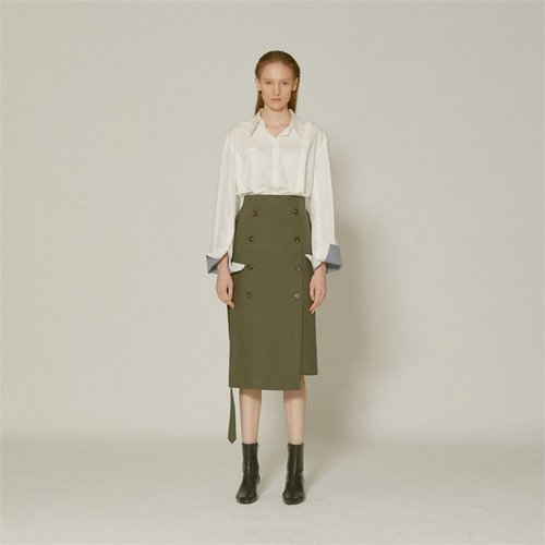 [MUSEE]Jeanne  belted cotton skirt _ Khaki (1940986)
