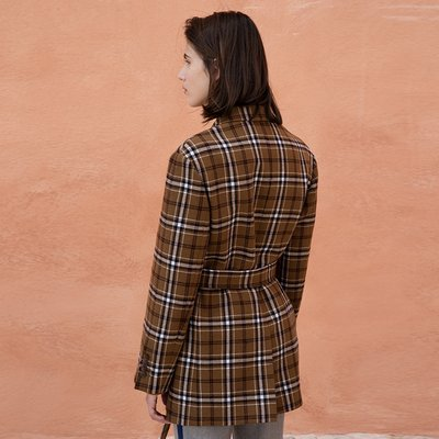 Collin check belted jacket_CAMEL