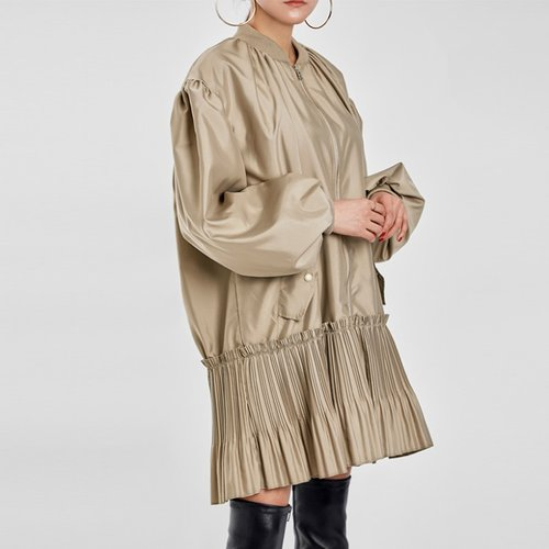 / pleated-hem bomber dress