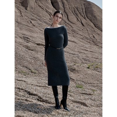 [Cashmere 100%] Boat Neck Ribbed Dress_Grey