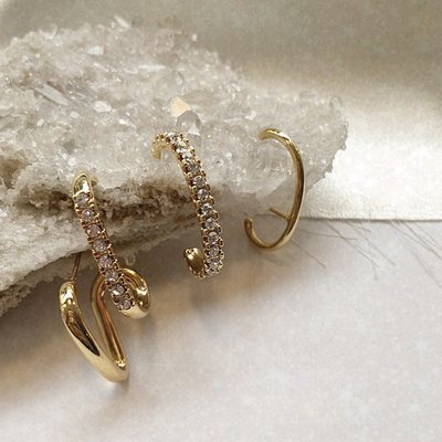 [SET] Layered Crystal Earcuff_Gold