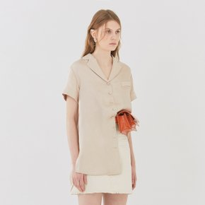 [가브리엘리]  19SS SHORT-SLEEVED V-NECK BLOUSE - LIGHT GOLD