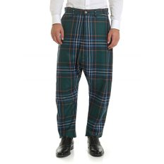 FW19 남성 Green trousers with tartan pattern (S25KA0598 S52266 001F)