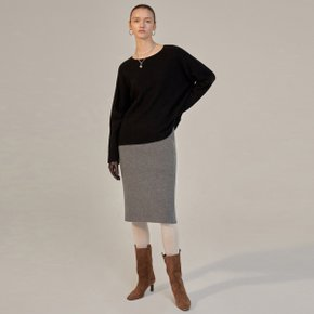 EVA CASHMERE KNIT SKIRT - GREY