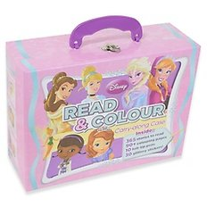 Disney Read & Colour Carry-Along Girl (Paperback:2)  - 책 2권, 스티커 1장, 싸인펜 10개