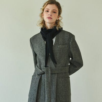 [블랭크공삼]herringbone v-coat (brown)