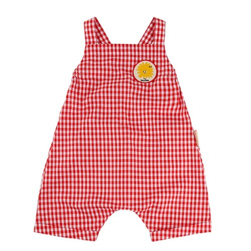Pompom wappen baby gingham check playsuit