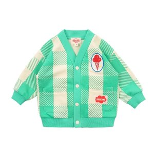 Ice cream baby mint shepherd check cardigan