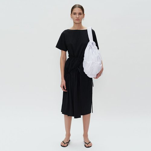SHIRRING WRAP DRESS - black