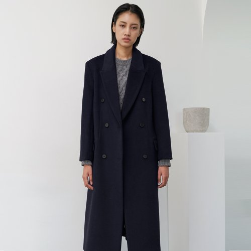 Double breastde Tailored Wool Coat (Navy)