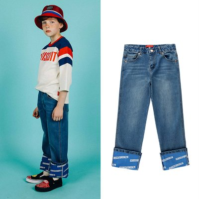 [20% SALE] Icebiscuit printed roll-up light denim pants