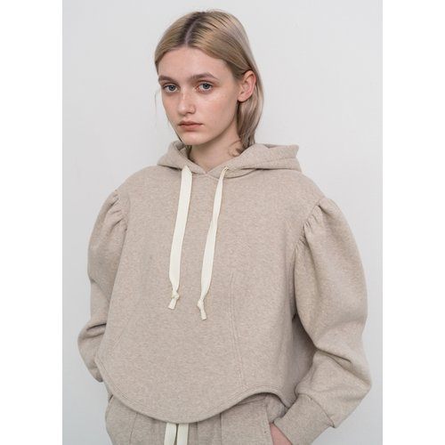 Puff sleeved  hooded sweatshirt
