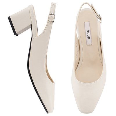 슬링백 MS9043 Slim square slingback 아이보리