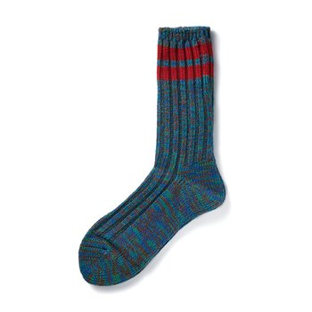 2 LINE MIX CREW SOCKS BLUE