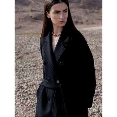 Cashmere Handmade Belted Double Coat_Black
