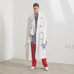 Fieno Oversized Trench Coat _ White