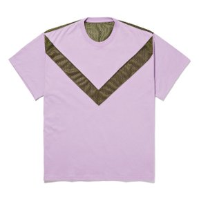 V SWITCHED TEE PURPLExKHAKI