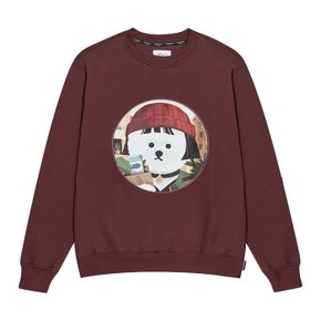 [기모]MOVIE WOMEN DOG PATCH SWEAT-SHIRTS 2019FW BURGUNDY (3551628)