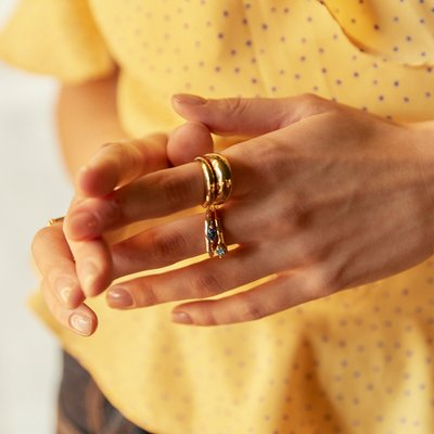 [레이브]Rugged Stone Ring in Gold VX0SX0510