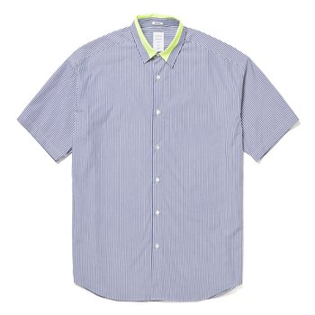 NEON COLOR ACCENT S/S MODERN SHIRT - STRIPE