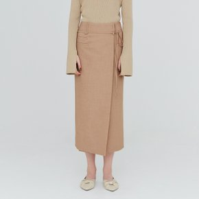 [가브리엘리] 19FW POCKET DETAIL LONG SKIRT - SAND MELANGE