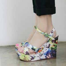 Art  painting  platform wedge sandals_KM14s386