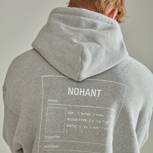 [NOHANT] OVERSIZED NAME LABEL HOODIE GRAY
