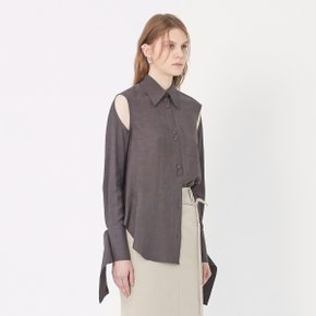 [가브리엘리] 19SS KEYHOLE DETAIL BLOUSE - DARK BROWN