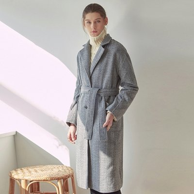 SSG WOOL HERRINGBONE ROBE COAT_BLACK