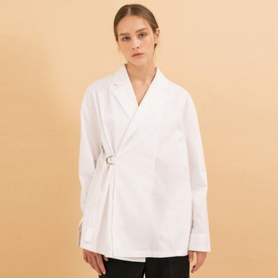 [김수미 착용] Wrap Trench Shirts - White