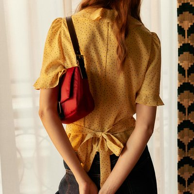 [레이브]Frill Short Sleeve Blouse in Yellow_VW0SB1170