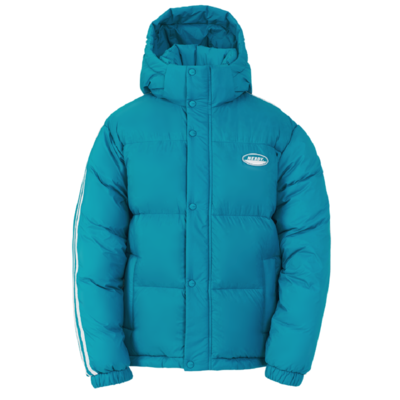 Color Block Reversible Down Jacket Turquoise
