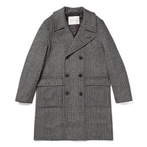GLENCHECK WOOL & CASHMERE LONG PEA COAT GM-051BS