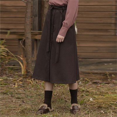 [클렛] FLARE WOOL SKIRT BROWN (1973854)A