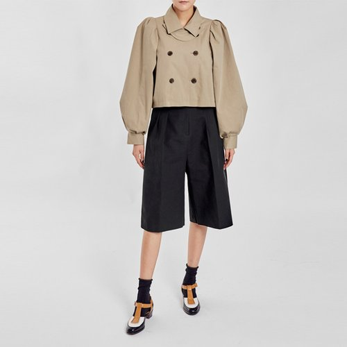/ volume sleeve cropped trench