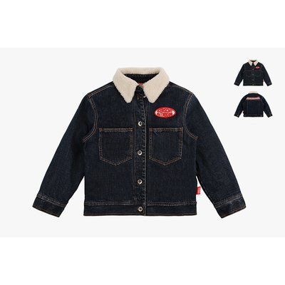 [40% SALE] Icebiscuit embroidered denim jacket with shearling