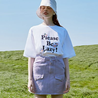 (TS-20304) PLEASE BE LAZY T-SHIRT WHITE