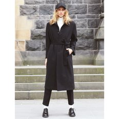 Wool Overfit Belted Long Coat_black